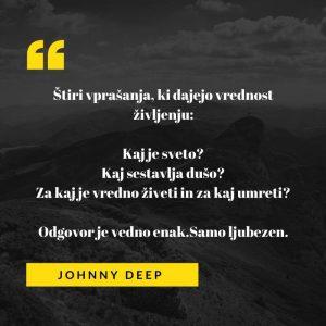 Ljubezenski verz ameriškega igralca Johnnya Deppa