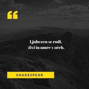 Ljubezenski verz svetovno znanega angleška pesnika Williama Shakespearjae